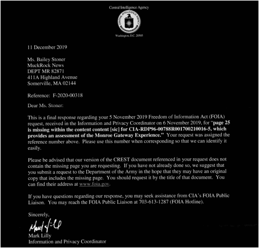 CIA FOIA response on missing paper